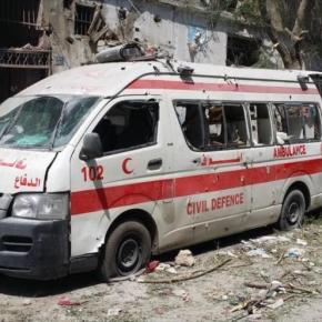 Marcha de ambulancias en Gaza, en aniversario de ofensivaisraelí